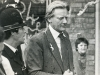 Minister for Merseyside Michael Heseltine is pelted by eggs
