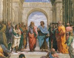 Photo of a famous fresco by Raphael, called The School of Athens.
