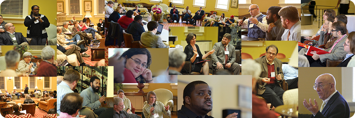 Collage of photos of people speaking at SOPHIA symposia.