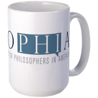 Photo of a SOPHIA coffee mug that one can purchase through CafePress.