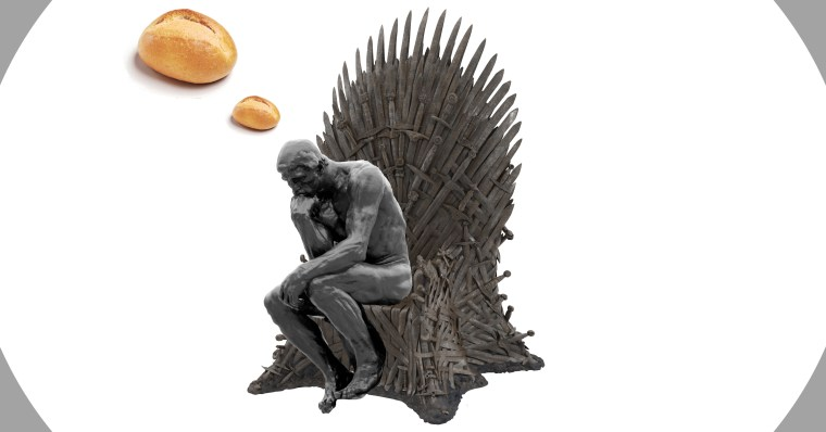 The Thinker, sitting on the iron throne, thinking about how philosophy bakes bread in the Game of Thrones.