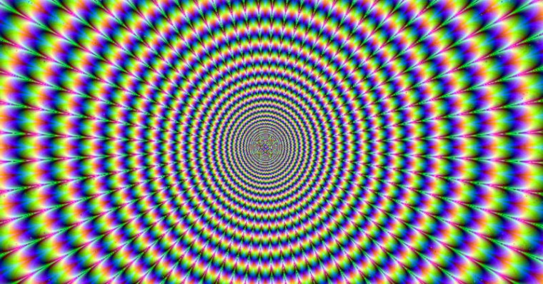 An optical illusion image that makes it seem as though the image shifts and moves as you look at it.