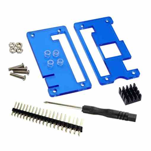 PHI1021969 – Raspberry Pi Zero W Blue Case with GPIO Header Pins and Heat Sink 02
