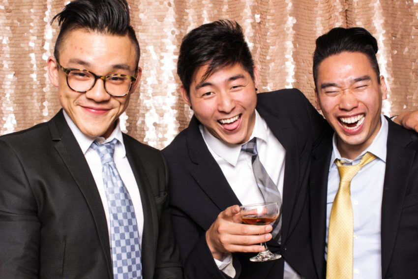 Three guys toasting in the Rancho Palos Verde Photo Booth