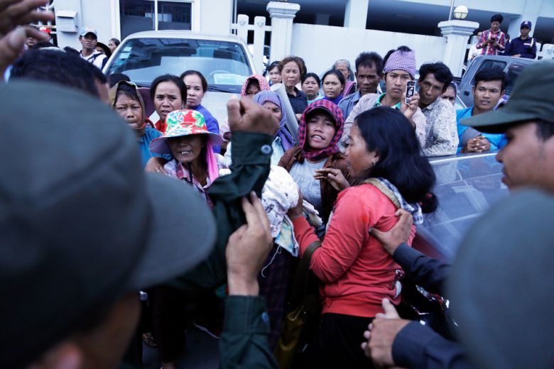 Koh Kong community members gather yesterday outside Land Ministry to protest against a sugar company for land grabbing