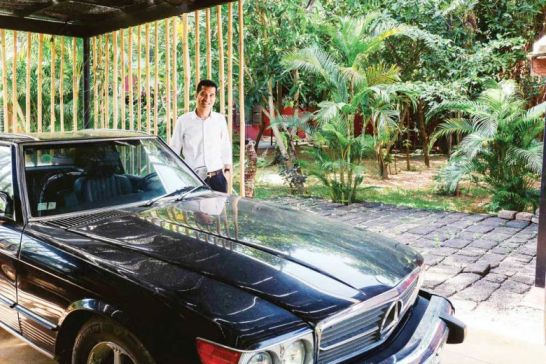Samath pictured with his prized 1985 Mercedes 560SL.