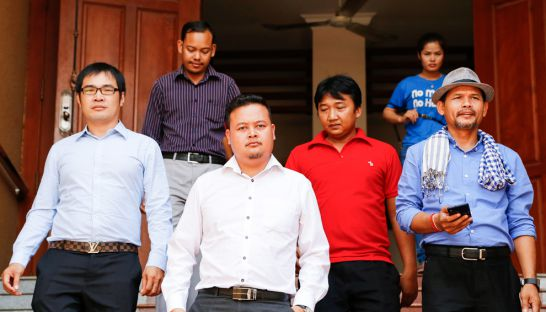 Cambodia National Rescue Party activists leave Phnom Penh Municipal Court in June last year after attending a hearing about their involvement in a violent protest at Freedom Park in 2014.