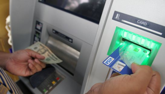 Withdrawing money from an Acleda bank ATM last year