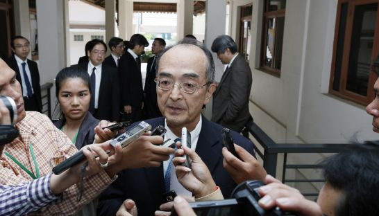 Japanese Ambassador Kumamaru Yuji talks to the media yesterday at the National Assembly in Phnom Penh