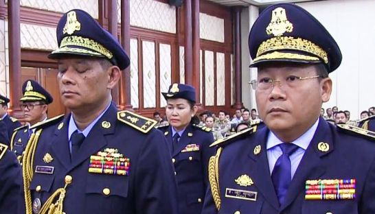 Sok Khemarin (left) and Lor Sokleng (right) attend a ceremony at the Ministry of Interior earlier this month where they were promoted to the rank of lieutenant general. National Police