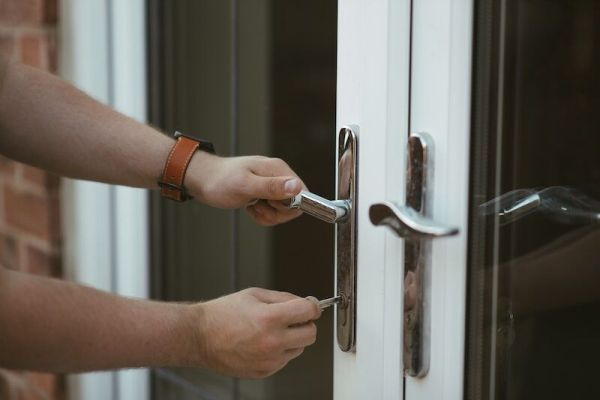 person locking door