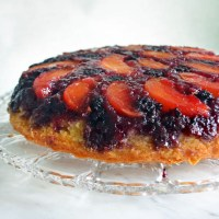 blackberry peach upside-down cake