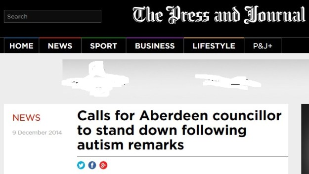 Press and  Journal article about an Aberdeen Councillor