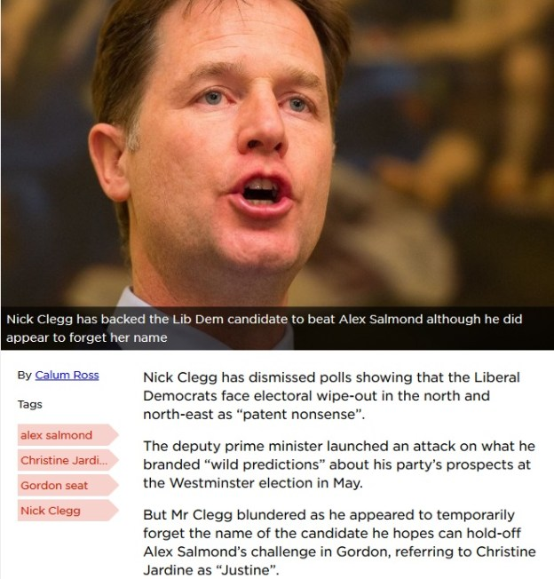 Nick Clegg forgets Gordon candidate's name