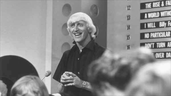 Sir Jimmy Savile presenting Top of The Pops from BBC North West's studio in Manchester