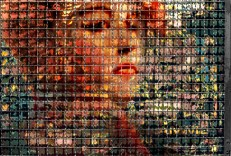 Conceptual – caged woman head in colorful handbill shreds