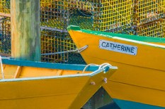 Man-Made – colorful dories and lobster traps