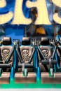 Graphic – Row of 'Jolly Roger' emblazoned amusement ride chairs