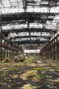 Man-made – abandoned derelict industrial building, open roof, walls, and floor