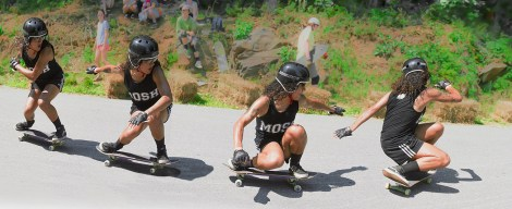 Life – composited skateboarder initiates a wheelslide