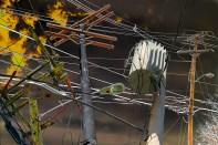 Fantasy – electric utility poles and dark ominous sky