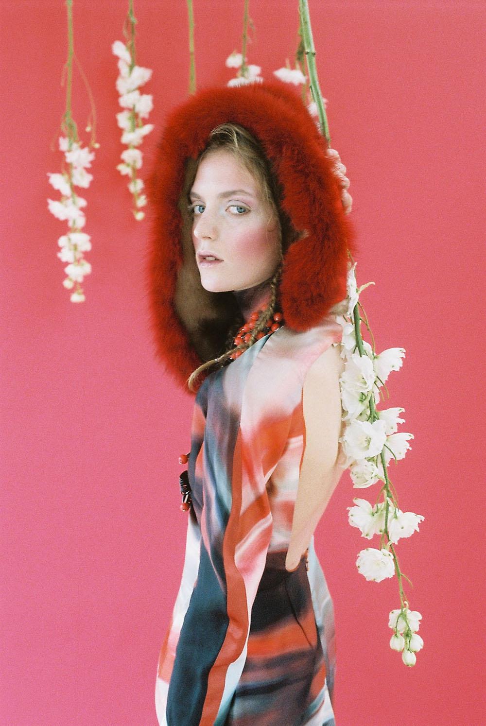 PHOENIX MAGAZINE Dress BERNARD, Necklace KIRSTY WARD, Hood LAURA APSIT LIVENS LONDON