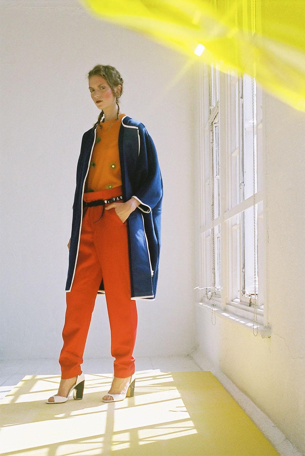 PHOENIX MAGAZINE Coat L F MARKEY, Jumper TRINE LINDEGAARD, Red trousers Á La Disposition, Belt MAISON SCOTCH ,Shoes Vintage, Earrings JEN CHEEMA