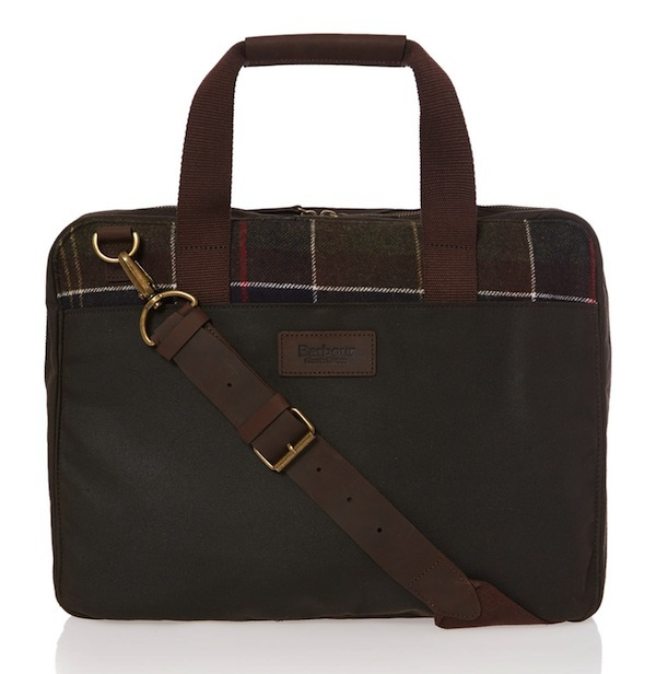 barbour tartan slip laptop bag