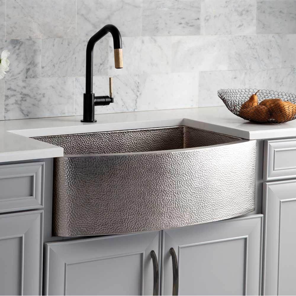 rhapsody farmhouse kitchen sink in brushed nickel