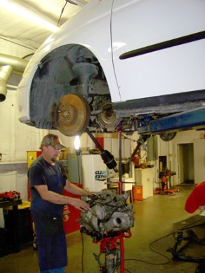 Marty Stanford, replacing a front wheel drive transmission. It takes both expereince and the right equipment these days to do this complex work. You can feel confident the job is done right with Marty on the job!