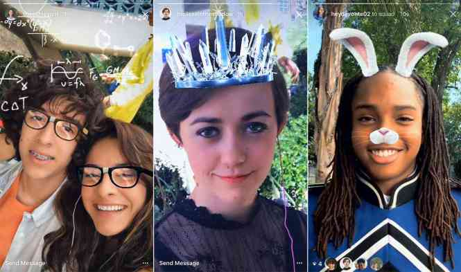 Instagram Stories face filters screenshots