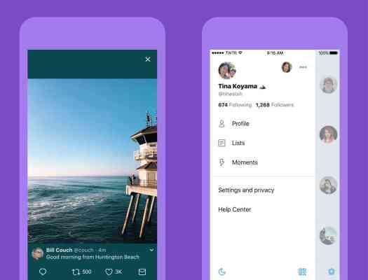 Twitter new look side menu