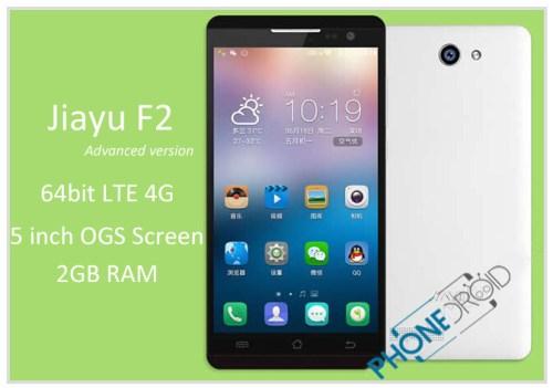 Jiayu F2 advanced version: 64 bit MT6735, Android 5.1