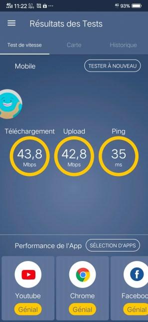 Performances en 4G du Vivo V11