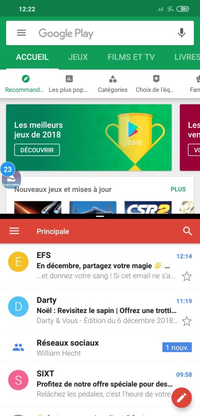 Utilisation de deux applications sur le même écran