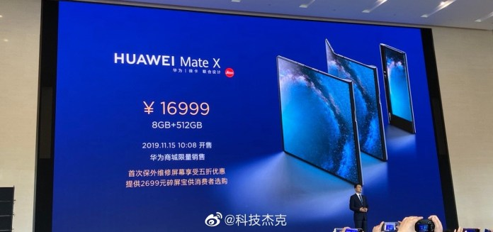 Huawei Mate X 5G Foldable Phone officially released in China, Limited Sale starts from November 15
