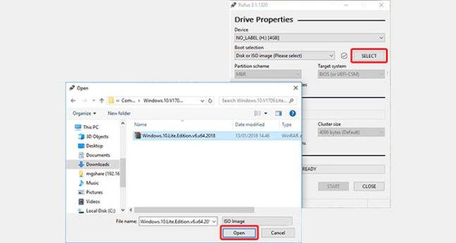 Pilih arquivo ISO