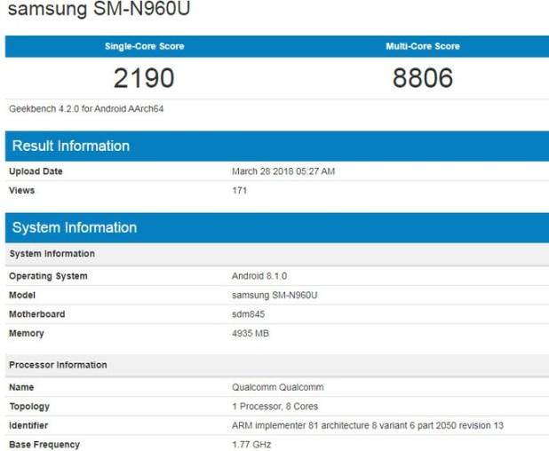 Samsung Galaxy Note 9 Bench