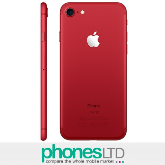 5d5322df4 Cheapest Apple iPhone 7 128GB (PRODUCT) RED O2 Unlimited + 1GB at ...