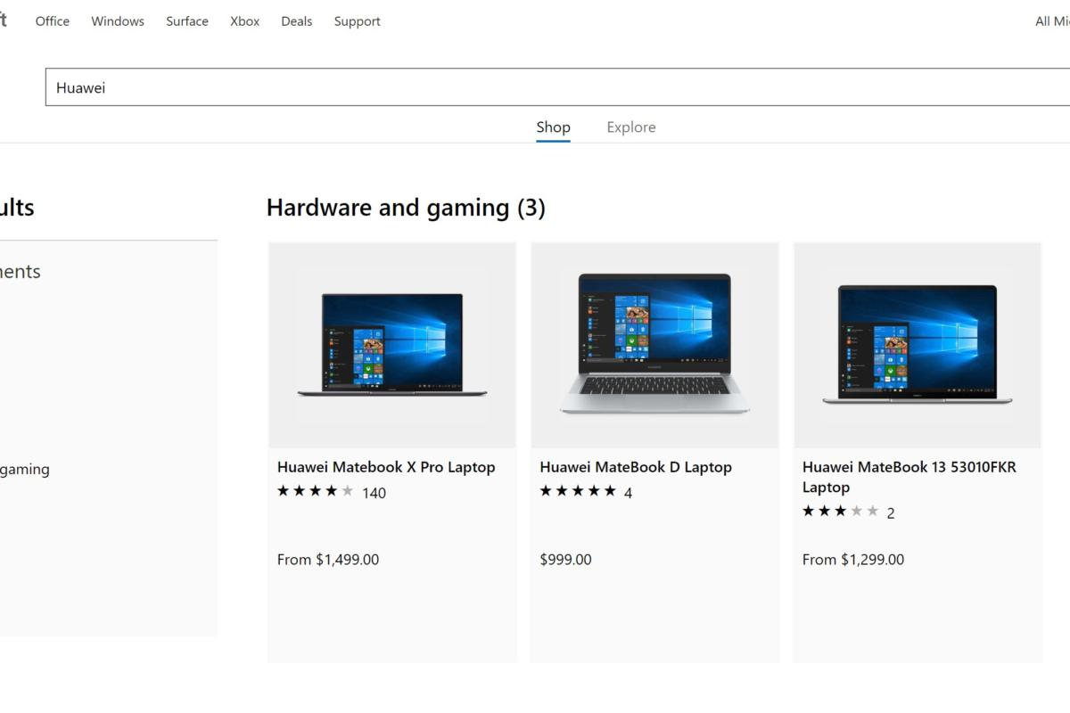 Huawei laptops quietly return to the Microsoft Store, though the