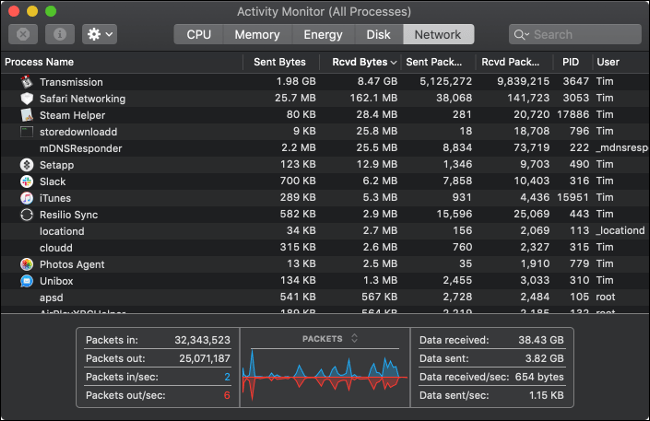 Activity Monitor pane on a Mac showing all incoming and outgoing processes.