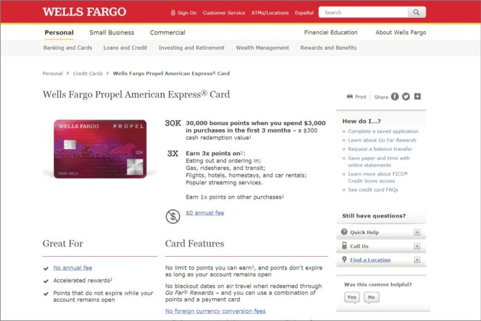 wells fargo propel info page