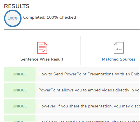 Completed scan results page in SmallSEOTools.
