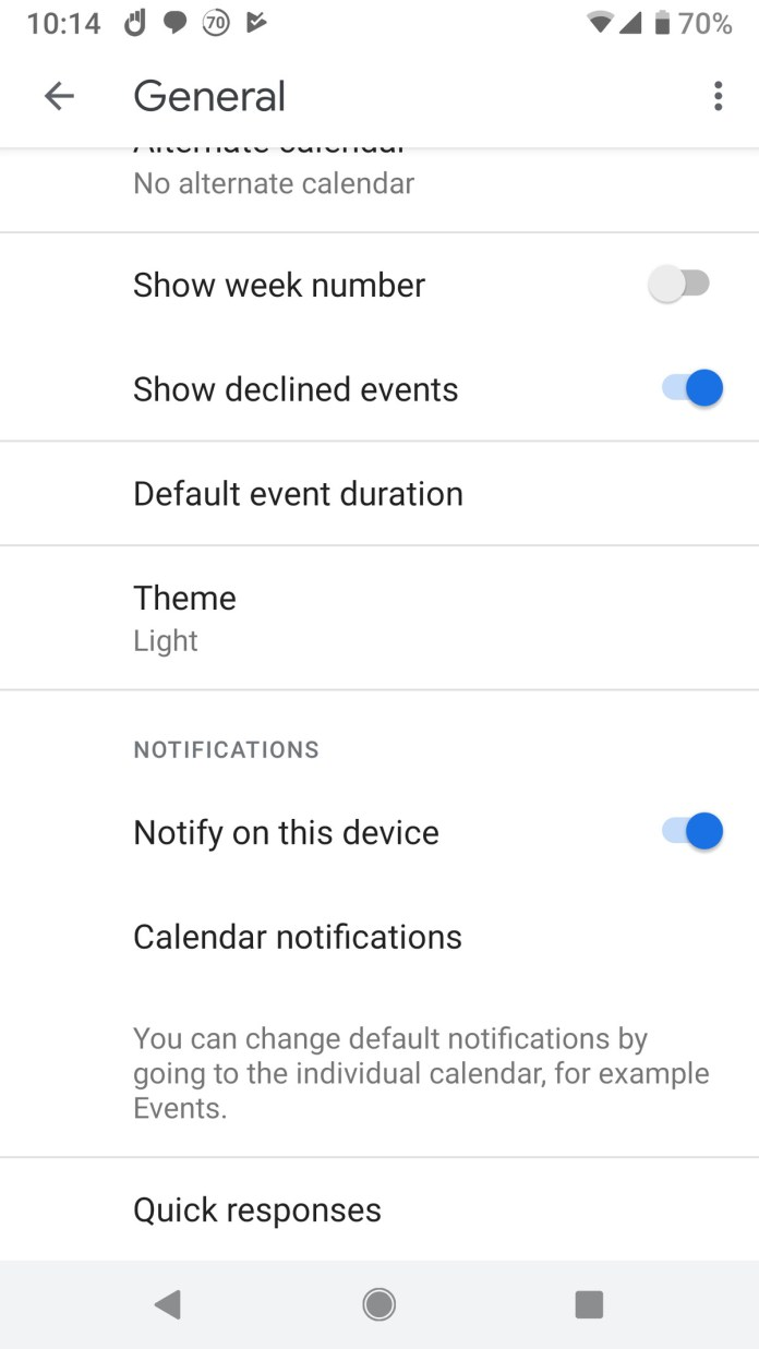 google calendar mobile declined events