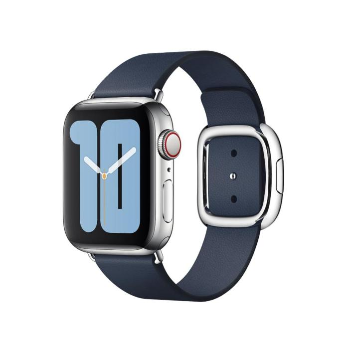 Apple Watch with Modern Buckle in Deep Sea Blue.