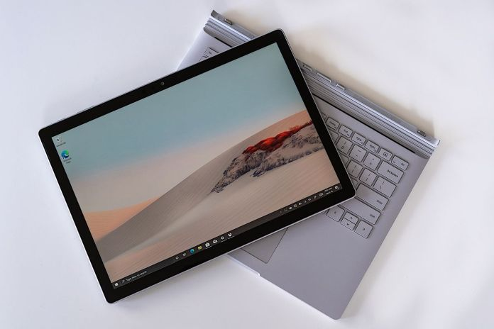 The Surface Book 3's screen disconnected from the keyboard.