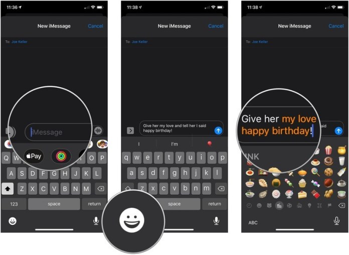 How to emojify a message, showing how to type an iMessage, tap on the emoji button on the keyboard, and tap an orange word