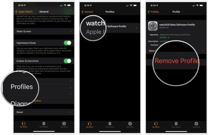 To remove the beta profile from your Apple Watch, select Profiles, then tap watchOS Beta Software Profile. Choose Remove Profile.