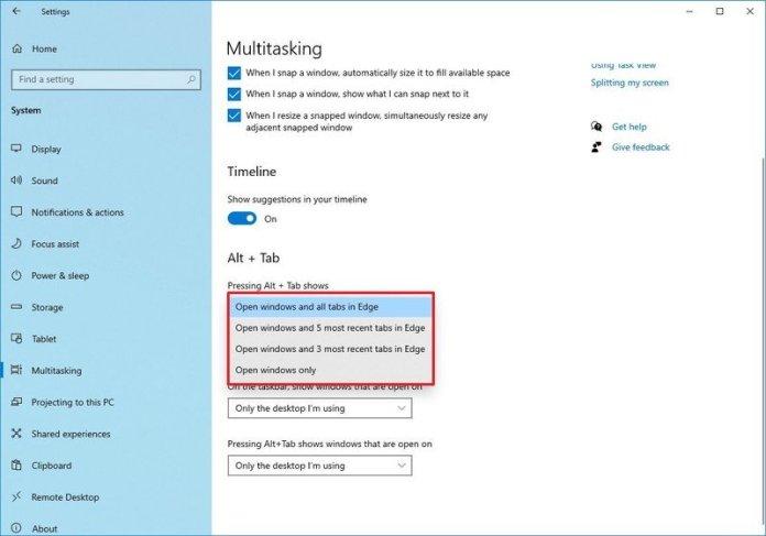 Multitasking with Alt + Tab Settings