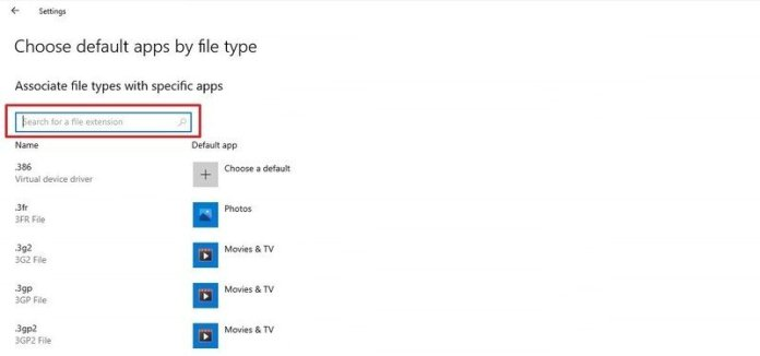 Default Apps search box
